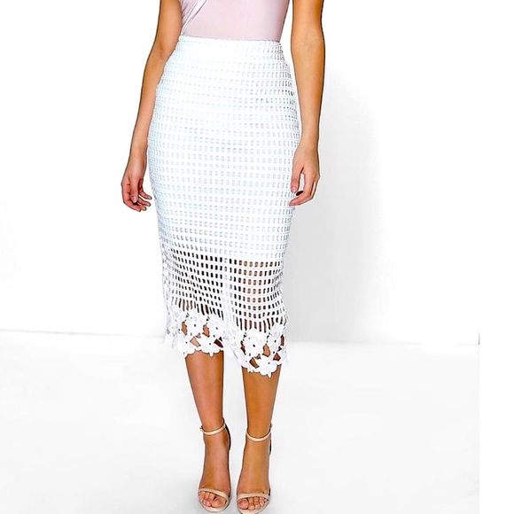 e87925d495a Boohoo Skirts | Asos Crochet Lace Floral Cut Out Pencil Skirt | Poshmark
